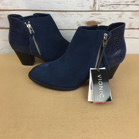 Vionic Shoes | Vionic Navy Anne Booties
